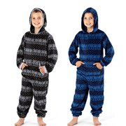Boys Nightwear Tribal Print Long Sleeve Onesies With Hoody & Pockets