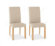 Bentley Designs Parker Oak Square Back Dining Chair with Stone Fabric