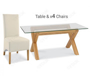 Bentley Designs Lyon Oak Dining Table with 4 Wing Back Ivory Chair