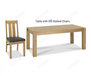 Bentley Designs Turin Light Oak 6 Seater Dining Table with 6 Chairs