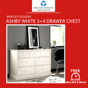Bentley Designs Ashby White 3+4 Drawer Chest | Furniture Sale