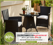 Reduce Price !! Royalcraft Cannes Black Bistro Set | Outdoor Furniture