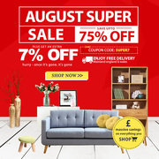August Super Sale | Up to 75% Off + Flat 7% Off On All Furniture