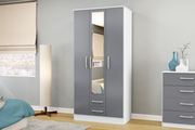 Birlea Furniture Lynx 3 Door 2 Drawer Wardrobe with Mirror