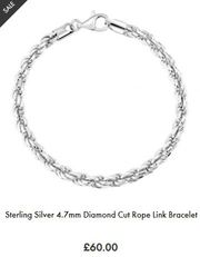 Sterling Silver Rope Bracelets for Men